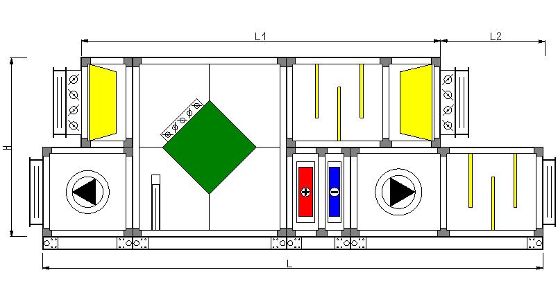 centrala wentylacyjna z odzyskiem ciepla - rysunek z programu doboru central