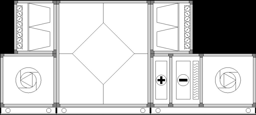 Centrale wentylacyjno-klimatyzacyjne, przykład centrali nawiewno-wywiewnej z wymiennikiem krzyżowym