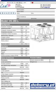 agregat wody lodowej - projektowanie w programie doboru (wydruk danych technicznych)