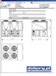 agregat wody lodowej - wydruk rysunku z informacją o gabarytach