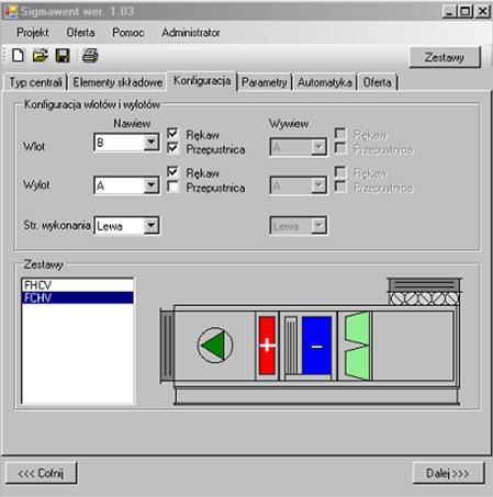Oprogramowanie do doboru central klimatyzacyjnych - wybór zestawu standardowego Sigmawent