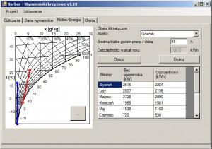 Program doboru wymienników - okno do wyznaczania rocznych oszczędności energii