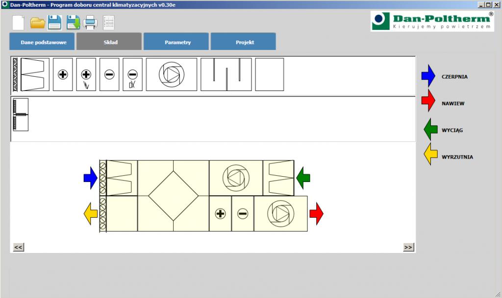 Oprogramowanie do doboru central klimatyzacyjnych - budowanie zestawu Dan-Poltherm