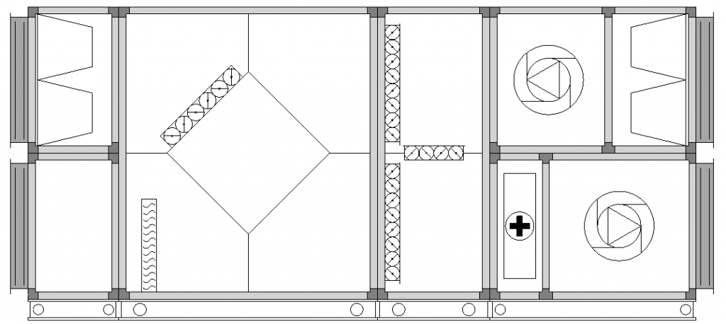 Centrala grzewczo-wentylacyjna z wymiennikiem krzyżowym i recyrkulacją