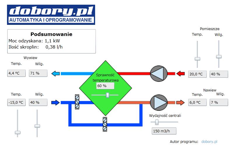 Wentylacja mechaniczna z odzyskiem ciepła - program do obliczeń sprawności rekuperatora