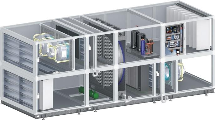 Pompa ciepła powietrze-powietrze współpracująca z wymiennikiem obrotowym w centrali klimatyzacyjnej firmy Dan-Poltherm