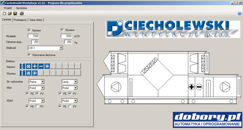 Centrale dachowe - dobór centrali Ciecholewski Wentylacje w programie doboru