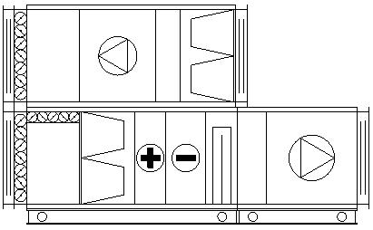schemat centrali klimatyzacyjnej z komorą mieszania (recyrkulacją)