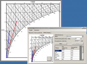 Program doboru wymiennika ciepła - przemiany powietrza na wykresie Moliera