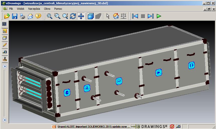wizualizacja centrali klimatyzacyjnej nawiewnej - plik DXF wygenerowany przez program doboru otwarty w programie eDrawings)